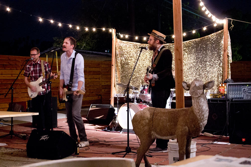 Faceless deer with band